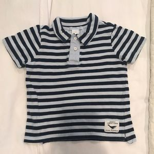 Janie and Jack Navy Striped Collared Shirt